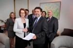 Stephanie Gotlib (far left) represents CDA as Prime Minister Gillard is presented with open letter calling for urgent action on education reforms.